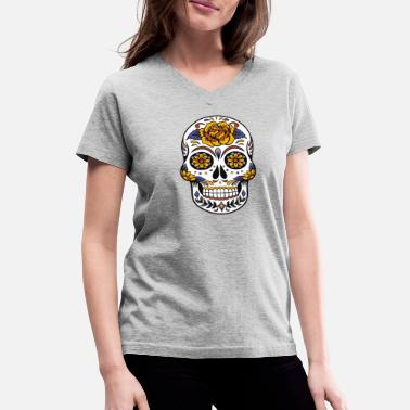 Skull Awesome Sugar Skull Design - Women's V-Neck T-Shirt