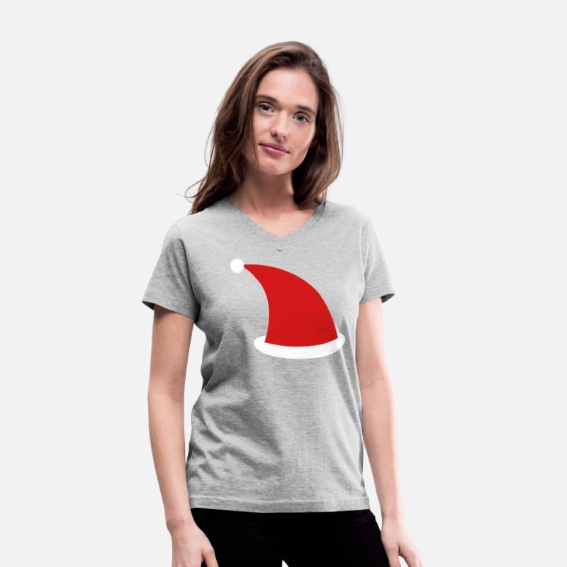 e2396282b47b8 SANTA HAT simple Christmas design Women s V-Neck T-Shirt