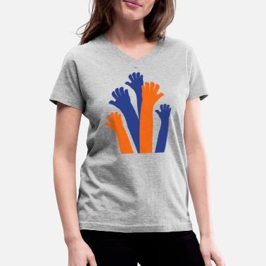 276029b9 reaching hands diversity and understanding multicultural - Women's  V-Neck T