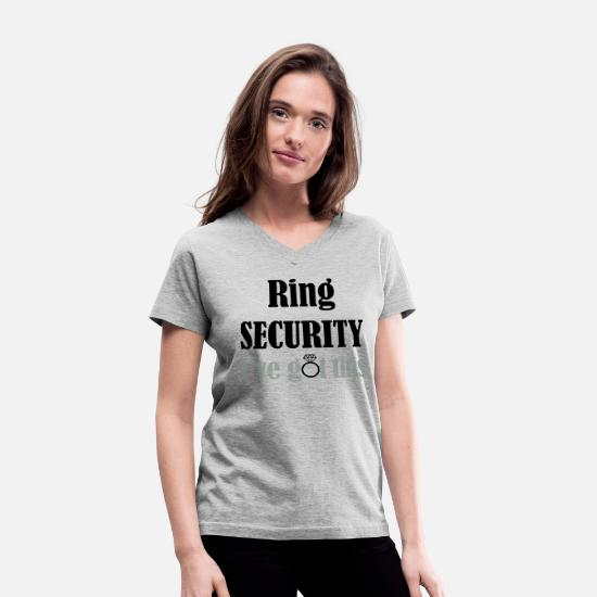 Engagement T-Shirts - Ring Security, I've Got This, Ring Bearer, Wedding - Women's V-Neck T-Shirt gray