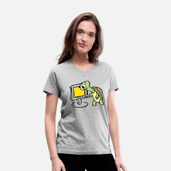 Art T-Shirts - Green turtle watching TV art - Women's V-Neck T-Shirt gray