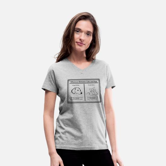 Cat T-Shirts - Cat and Dog - Women's V-Neck T-Shirt gray