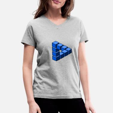 Cube Impossible construction of blue blocks - Women's V-Neck T-Shirt