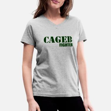 Cage CAMO GREEN CAGED FIGHTER - Women's V-Neck T-Shirt