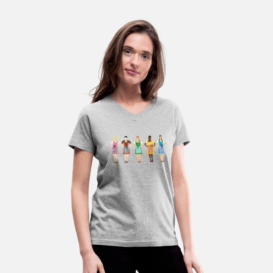 Munich T-Shirts - Dirndl girls - Women's V-Neck T-Shirt gray
