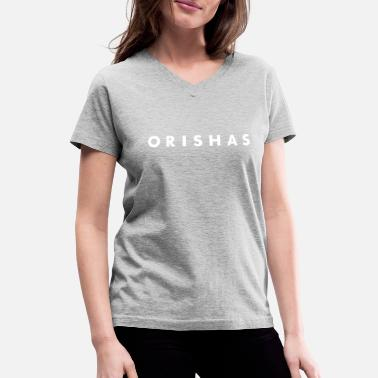 Yemanja Orishas (Medium White Letters) - Women's V-Neck T-Shirt