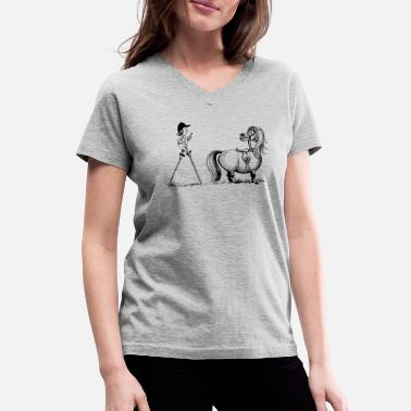 Norman Thelwell Thelwell Penelope Mounting Horse with Stilits - Women's V-Neck T-Shirt