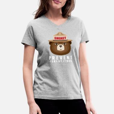 Smokey Bear A BEAR SMOKEY PREVENT FOREST FIRES T-STIRT - Women's V-Neck T-Shirt