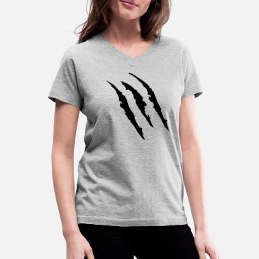 Scratch Claw Marks (High Quality) - Women's V-Neck T-Shirt