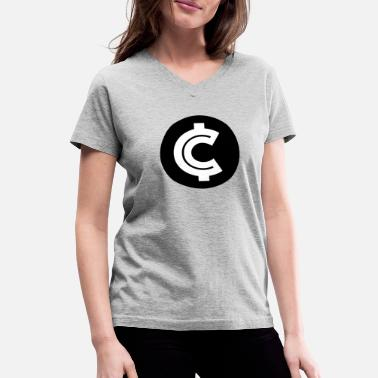 Coin Crypto Coin RIch Logo - Women's V-Neck T-Shirt
