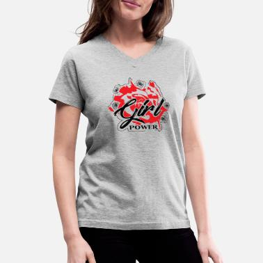 Girl Power Fun Girl Power - Women's V-Neck T-Shirt