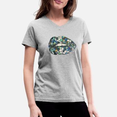 Holographic lips - Women's V-Neck T-Shirt