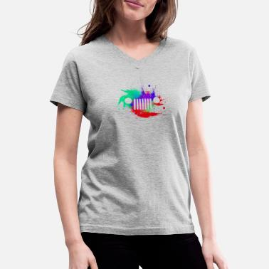 Jeep Grille Watercolor Jeep Grill colorful - Women's V-Neck T-Shirt