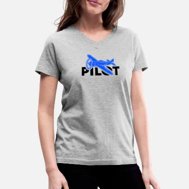pilot pilots flying - Women's V-Neck T-Shirt