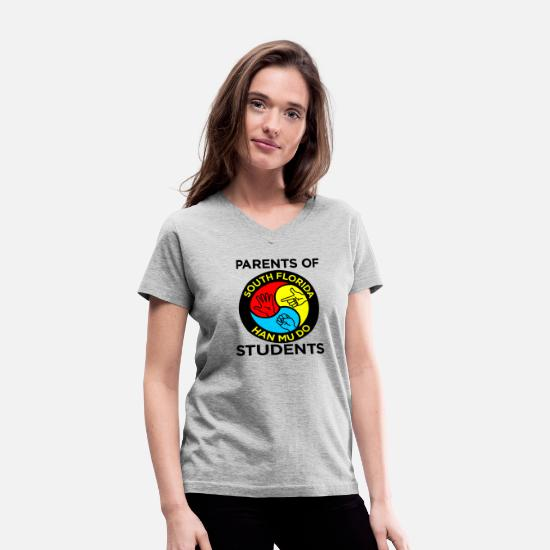 Music T-Shirts - Parents Of South Florida Han Mu Do Students - Women's V-Neck T-Shirt gray