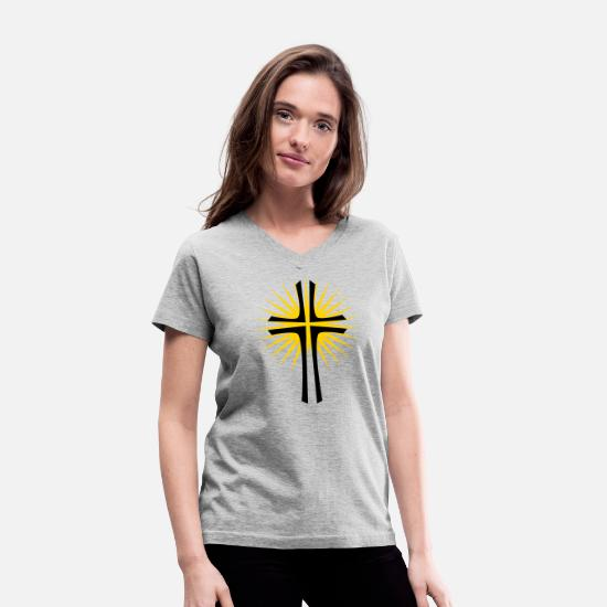 Cross T-Shirts - cross - Women's V-Neck T-Shirt gray