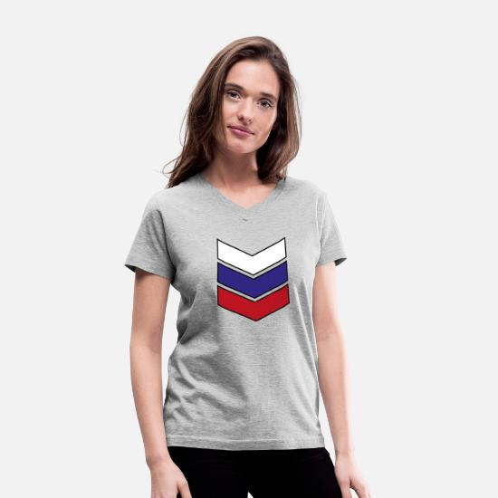 Gift Idea T-Shirts - Russian Flag Emblem Coat of Arms Gift - Women's V-Neck T-Shirt gray