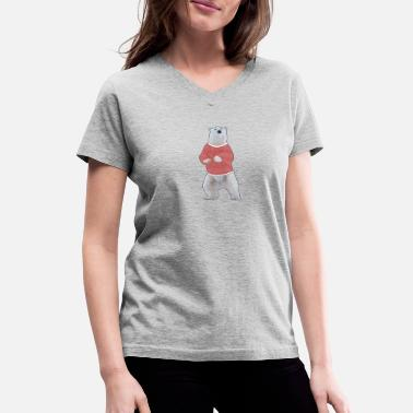Invicta Retro Polar Bear - Women's V-Neck T-Shirt