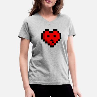 Pixel Heart Pixel heart - Women's V-Neck T-Shirt