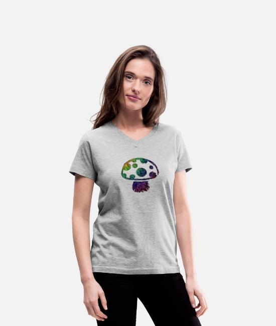 Be Different T-Shirts - Shroom - Women's V-Neck T-Shirt gray
