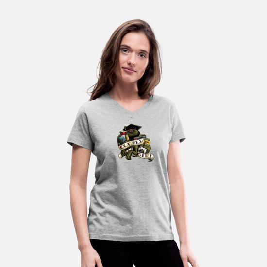Game T-Shirts - Clever Girl - Women's V-Neck T-Shirt gray