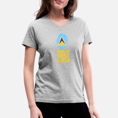 St Lucia Made In Saint Lucia / St. Lucia - Women's V-Neck T-Shirt