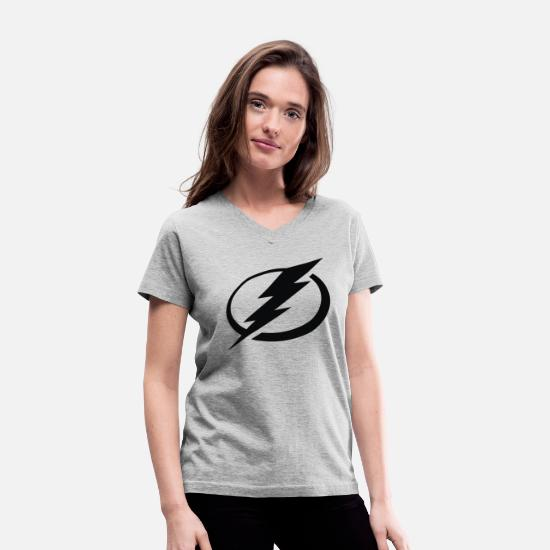 Lightning T-Shirts - Bay Lightning - Women's V-Neck T-Shirt gray