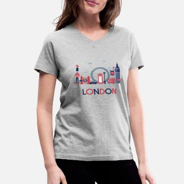 London London Skyline Illustration Design - Women's V-Neck T-Shirt