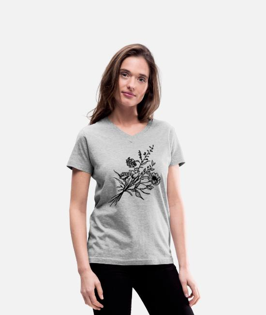 Line T-Shirts - Hand drawn flower bouquet in vintage style - Women's V-Neck T-Shirt gray