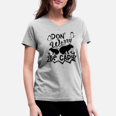 Capy Capy Shirt - Don't Worry Be Capy T shirt - Women's V-Neck T-Shirt