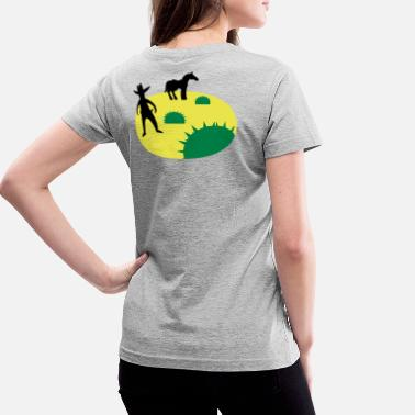 Wild West wild west sheriff outlaw in a scene with cactus and a horse two - Women's V-Neck T-Shirt