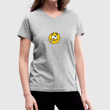 Crazy Smiley Face Design - Women's V-Neck T-Shirt
