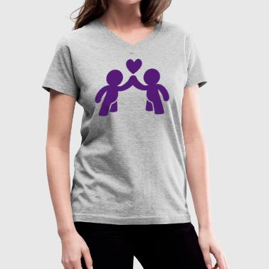 CUTE LOVE gay COUPLE - Women's V-Neck T-Shirt
