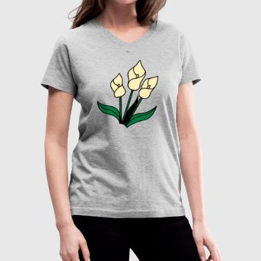 white lily flowers for remembrance - Women's V-Neck T-Shirt