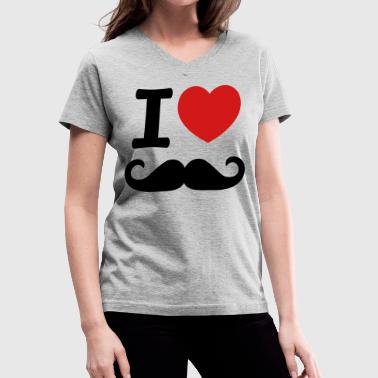 I Love Moustache  - Women's V-Neck T-Shirt