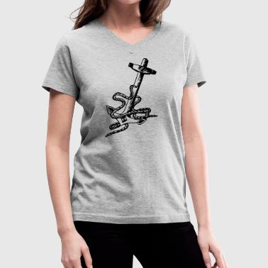 anchor with tow - Women's V-Neck T-Shirt