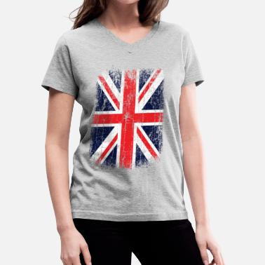 b1ed0f77 British Flag Vintage UK Union Jack Flag - Women's V-Neck