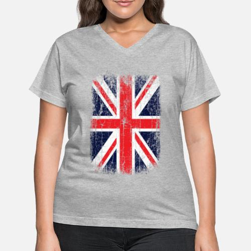 3da9455bb1724a Vintage UK Union Jack Flag Women s V-Neck T-Shirt