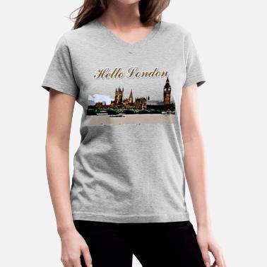 Europe hello_london01 - Women's V-Neck T-Shirt