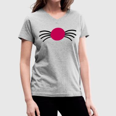 kitty cat nose with whiskers - Women's V-Neck T-Shirt