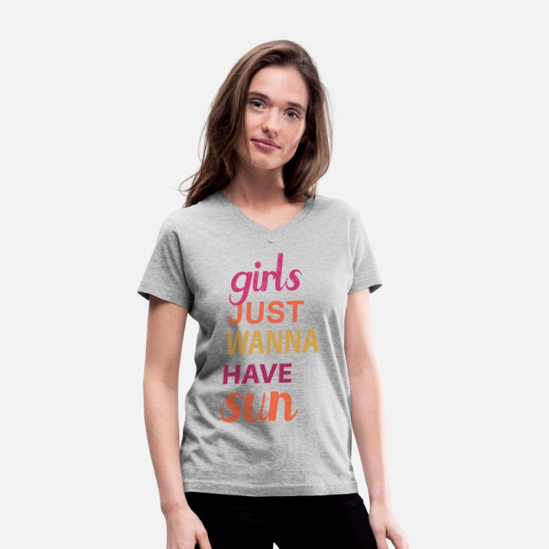 Mother's Day T-Shirts - girls just wanna have sun - Women's V-Neck T-Shirt gray