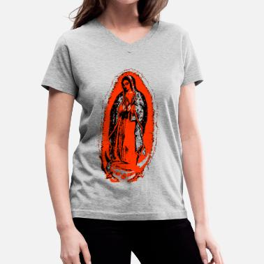 Virgin Mary Mary's Glow - Women's V-Neck T-Shirt
