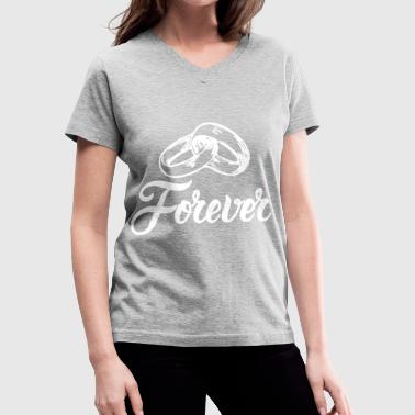 Forever Wedding Bands T-Shirts - Women's V-Neck T-Shirt