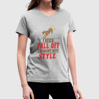 Falling Whale funny horse lover equestrian gift fall off style - Women's V-Neck T-Shirt