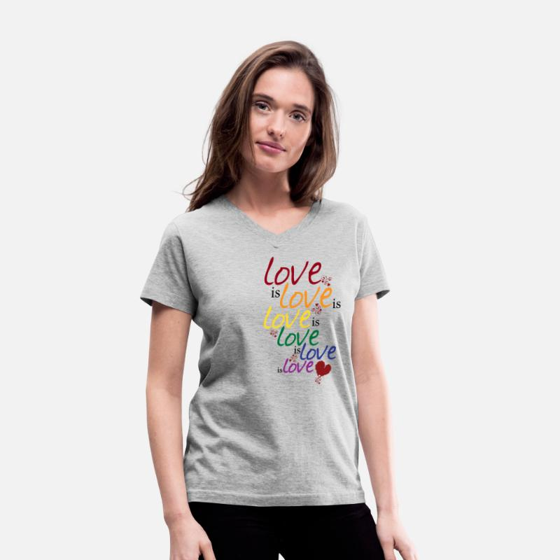 Equalizer T-Shirts - Love is love (Gay Marriage) - Women's V-Neck T-Shirt gray