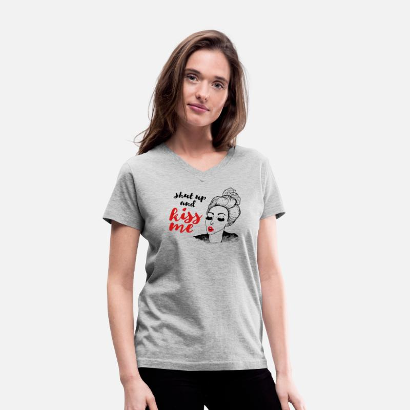 Baby T-Shirts - shut up and kiss me message - Women's V-Neck T-Shirt gray