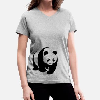 Panda panda teddy bear face cute animal save - Women's V-Neck T-Shirt