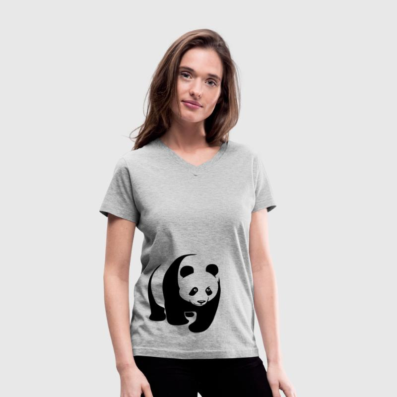 panda teddy bear face cute animal save - Women's V-Neck T-Shirt