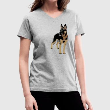 Puppy Love German Shepherd (ADD CUSTOM TEXT) - Women's V-Neck T-Shirt