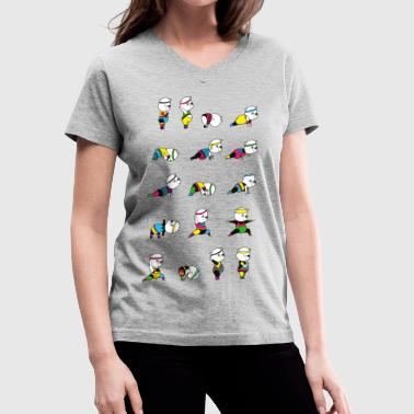 Yoga Bear - 80's Remix - Women's V-Neck T-Shirt